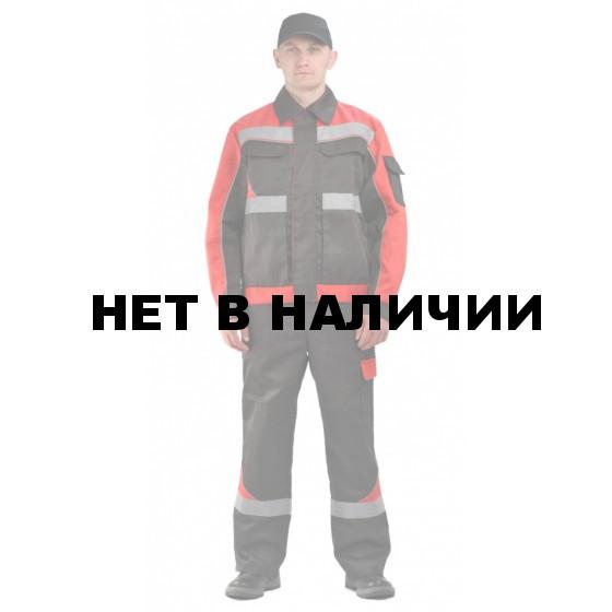 """Костюм мужской """"Базис"""" черный с красным"""