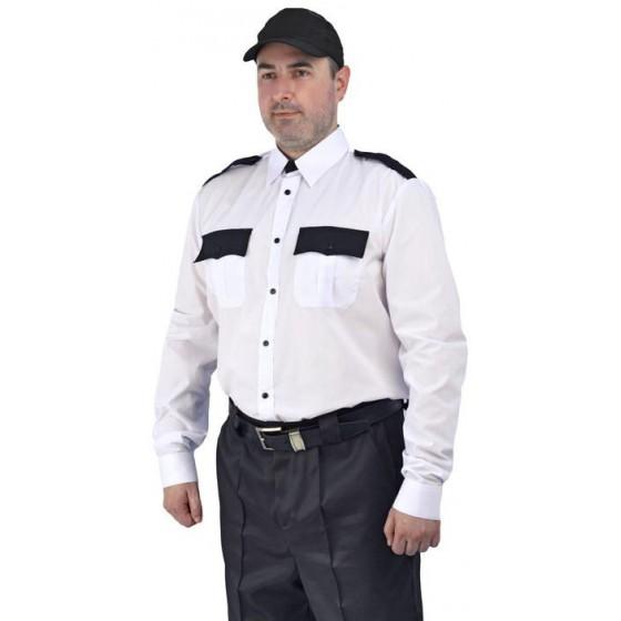 """Рубашка мужская """"Охрана"""" (дл. рукав) белая с черным"""