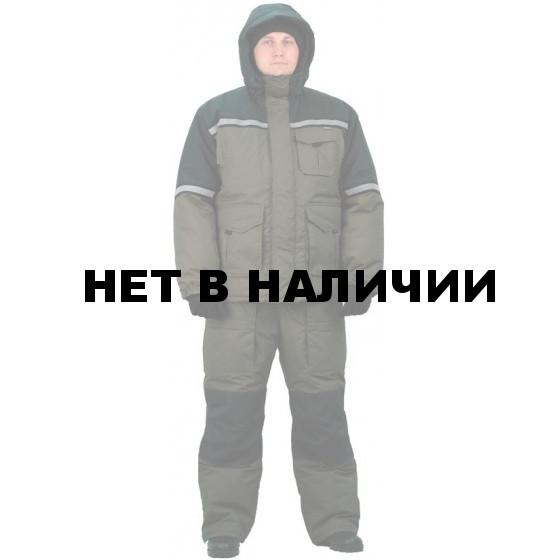 """Костюм мужской """"Полюс"""" (Термофайбер) зимний хаки с черным"""