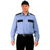 "Рубашка мужская ""Охрана"" (дл. рукав) голубая с черным"