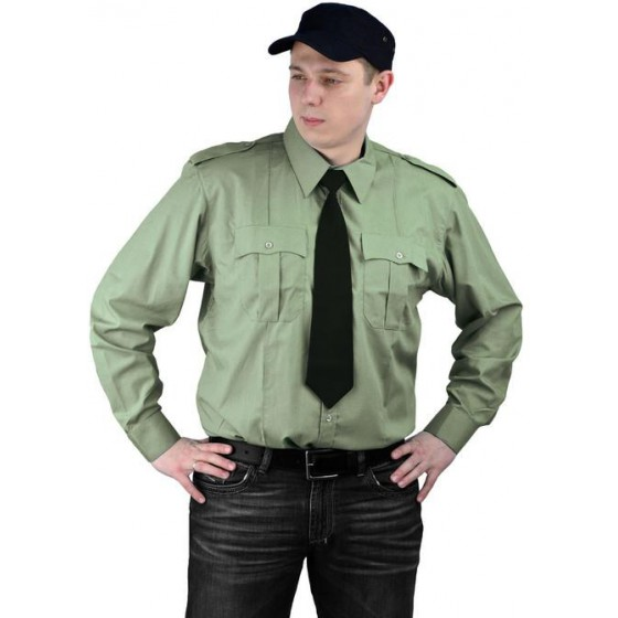 """Рубашка мужская """"Охрана"""" (дл. рукав) оливковая"""