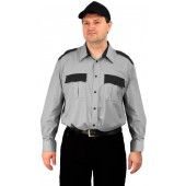 "Рубашка мужская ""Охрана"" (дл. рукав) серая с черным"