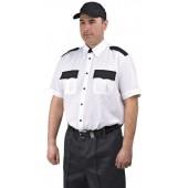 """Рубашка мужская """"Охрана"""" (кор. рукав) белая с чёрным"""