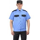 """Рубашка мужская """"Охрана"""" (кор. рукав) на резинке голубая с чёрным"""