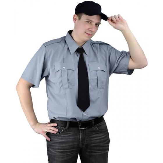 """Рубашка мужская """"Охрана"""" (кор. рукав) светло-серая"""