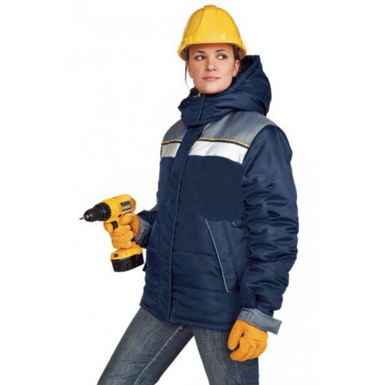 """Куртка женская """"Эребус"""" зимняя т-синяя с серым"""