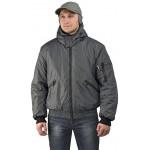 """Куртка мужская """"Бомбер"""" демисезонная, ткань Джордан серая (с капюшоном)"""