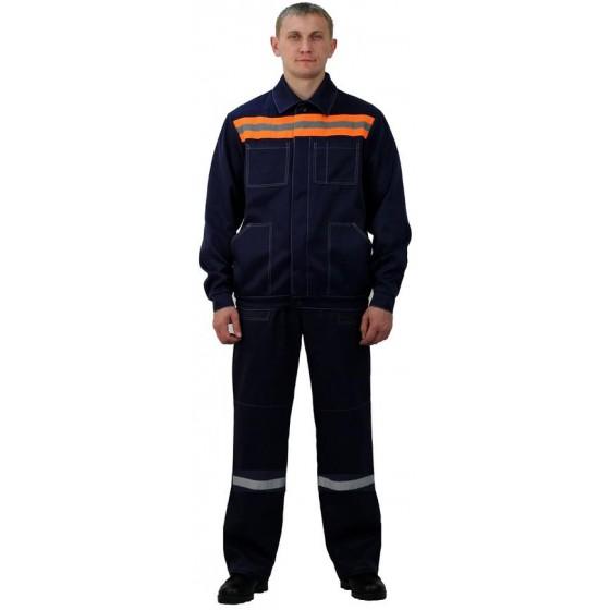 Костюм мужской Строитель с полукомбинезономт-синий с оранжевым
