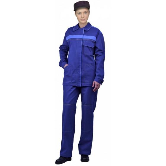 """Костюм женский """"Актуал"""" летний с брюками синий с васильковым 100% хлопок"""