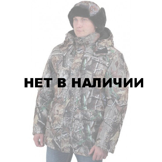 """Куртка мужская """"Вепрь"""" зимняя, камуфляж алова """"Смешанный лес"""" подкладка флис 180г"""