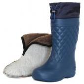 """Сапоги ЭВА женские зимние """"Барс"""" -65С, с 4-слойным чулком и манжетой, синие"""