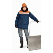 Куртка мужская Вьюга т-синяя с оранжевым