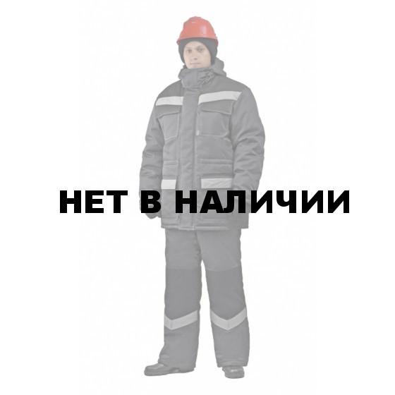"""Костюм мужской """"Передовик"""" зимний с полукомбинезономт-серый с черным"""