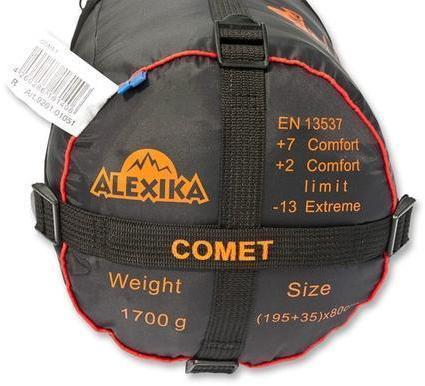 На мешке четыре ремня, утянув которые, вы можете уменьшить объем упакованного спальника. Кемпинговый спальник-одеяло Alexika Comet