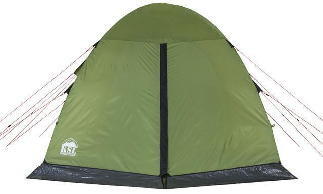 Вид сзади. Вход закрыт. Вид сзади. Вход закрыт. Кемпинговая палатка с большим тамбуром и тремя входами KSL Campo 4 Plus зеленый
