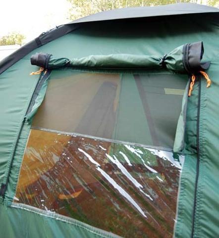 Окно открыто полностью Окно открыто полностью Четырехместная кемпинговая палатка-полубочка с большим тамбуром Alexika Apollo 4 зеленый