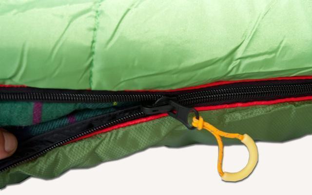 Лента от закусывания ткани замком молнии. Спальник-одеяло c подголовником для кемпинга и туризма Alexika Siberia Plus