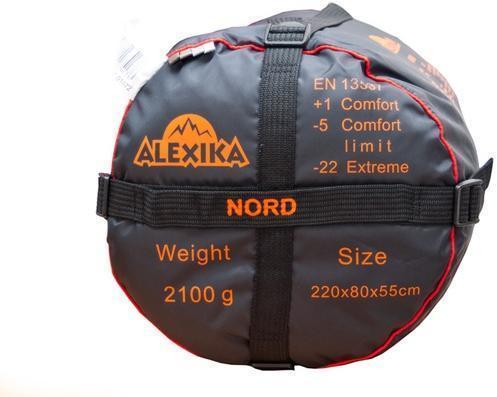 На мешке четыре ремня, утянув которые, вы можете уменьшить объем упакованного спальника. Спальный мешок для походов до конца осени и в начале зимы Alexika Nord