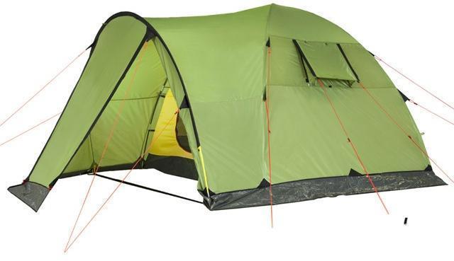Боковой полог открыт как вход. Боковой полог открыт как вход. Высокая четырёхместная кемпинговая палатка KSL Campo 4 зеленый