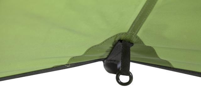 Цветная маркировка нижнего крепления спальни Цветная маркировка нижнего крепления спальни Трехместная туристическая палатка-полубочка с большим тамбуром KSL Half Roll 3 зеленый