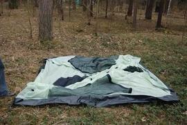 Разложить внутреннюю палатку Кемпинговая палатка с большим тамбуром и тремя входами KSL Campo 4 Plus