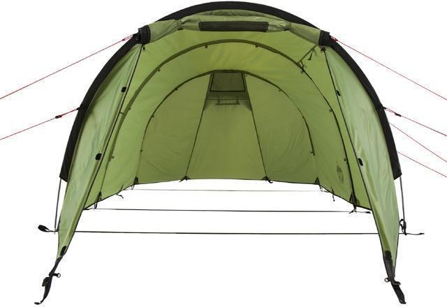 Палатка без спальни, общий вид Палатка без спальни, общий вид Трехместная туристическая палатка-полубочка с большим тамбуром KSL Half Roll 3 зеленый