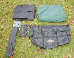 Комплект : внешний тент, внутренний тент, дуги, колышки, пол в тамбур, чехол Четырехместная кемпинговая палатка с большим тамбуром. Alexika Nevada 4