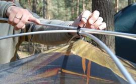 Установить третью полудугу Универсальная двухместная туристическая палатка с двумя входами и двумя тамбурами. Alexika Rondo 2