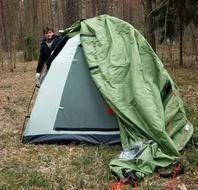 Накинуть внешний тент Кемпинговая палатка с большим тамбуром и тремя входами KSL Campo 4 Plus