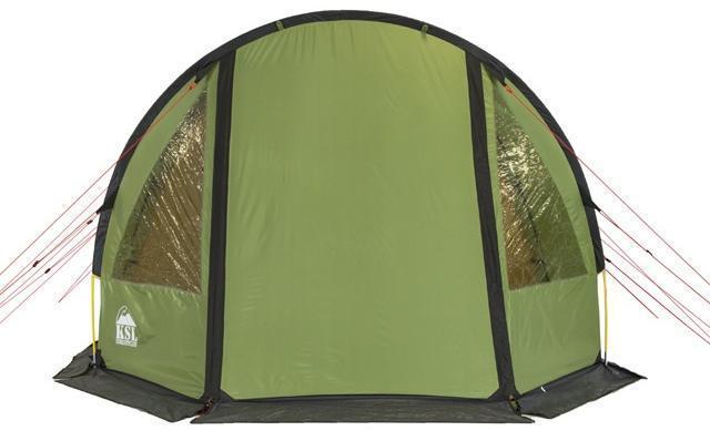 Вид спереди. Все входы закрыты. Вид спереди. Все входы закрыты. Кемпинговая палатка с большим тамбуром и тремя входами KSL Campo 4 Plus зеленый