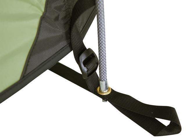 Оттяжка с фастексом для натяжения тента и люверсом для крепления дуги Оттяжка с фастексом для натяжения тента и люверсом для крепления дуги Трехместная туристическая палатка-полубочка с большим тамбуром KSL Half Roll 3 зеленый