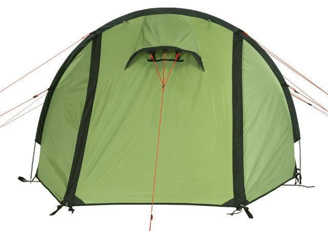 Вентиляционное окно на центральном входе Вентиляционное окно на центральном входе Трехместная туристическая палатка-полубочка с большим тамбуром KSL Half Roll 3 зеленый