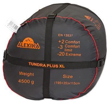 На мешке четыре ремня, утянув которые, вы можете уменьшить объем упакованного спальника. Самый просторный, комфортный и теплый спальник для путешествий даже в сильные заморозки Alexika Tundra Plus XL