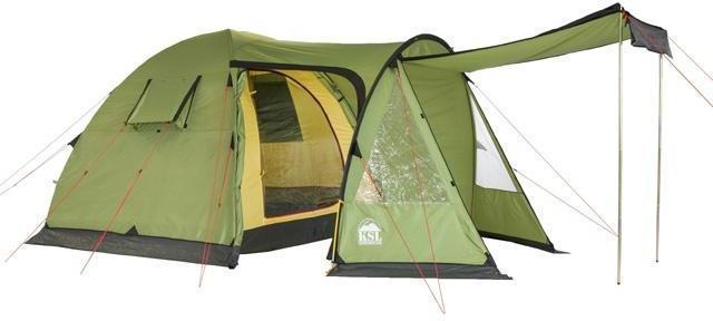 Полог центрального входа установлен как тент. Полог центрального входа установлен как тент. Кемпинговая палатка с большим тамбуром и тремя входами KSL Campo 4 Plus зеленый