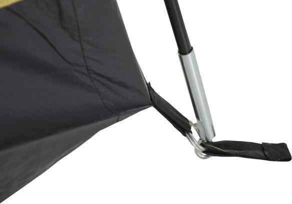 Прочный узел крепления дуги и оттяжки дна. Прочный узел крепления дуги и оттяжки дна. Кемпинговая палатка с большим тамбуром и тремя входами KSL Campo 4 Plus зеленый