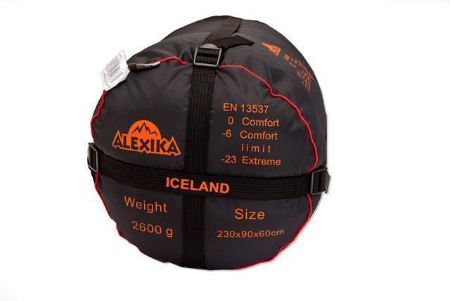 На мешке четыре ремня, утянув которые, вы можете уменьшить объем упакованного спальника. Спальный мешок для зимнего туризма Alexika Iceland