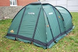 Застегнуть все молнии и натянуть оттяжки Четырехместная кемпинговая палатка с большим тамбуром. Alexika Nevada 4