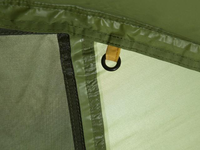 Цветная маркировка заднего крепления спальни Цветная маркировка заднего крепления спальни Трехместная туристическая палатка-полубочка с большим тамбуром KSL Half Roll 3 зеленый