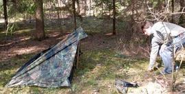 Зафиксировать оттяжку колышком Лёгкая двухместная палатка. Tengu Mark 31T