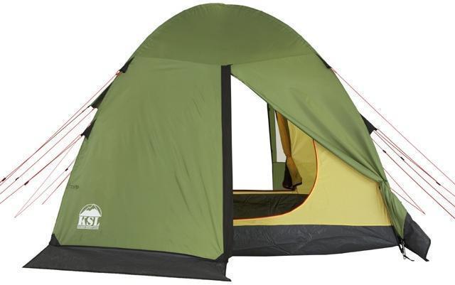 Вид сзади. Вход открыт. Вид сзади. Вход открыт. Кемпинговая палатка с большим тамбуром и тремя входами KSL Campo 4 Plus зеленый