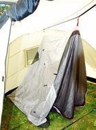 Подвесить внутренние палатки. Четырехместная кемпинговая палатка с двумя спальнями и тамбуром посередине. Alexika Indiana 4