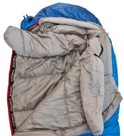 Тепловой воротник с обхватом в 360° может гарантировать минимальные теплопотери. Тепловой воротник-элемент системы повышенной защиты (Protective Shell) Компактная версия спальника Mountain для всех, чей рост не превышает 175 см Alexika Mountain Compact