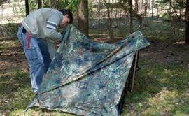Установить стойку с другой стороны Лёгкая двухместная палатка. Tengu Mark 31T