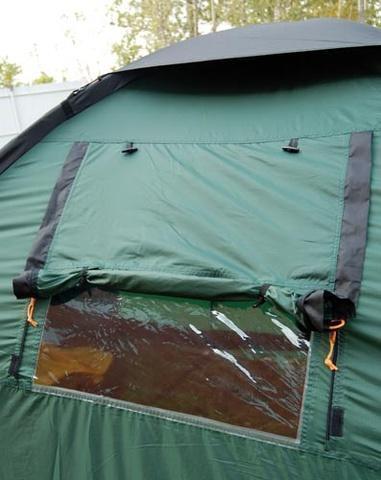 Открыта прозрачная часть Открыта прозрачная часть Четырехместная кемпинговая палатка с двумя спальнями и тамбуром посередине Alexika Indiana 4 беж