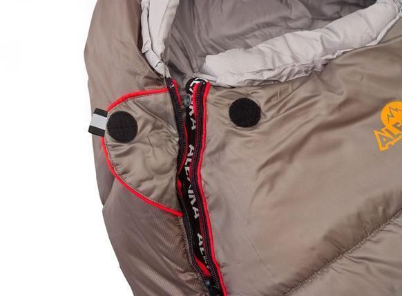На треугольном клапане круглая липучка Velcro (квадратные отрываются по углам) и светоотражающий ярлык. Спальный мешок для зимнего туризма Alexika Iceland