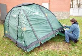 Натянуть тент на дуги Четырехместная кемпинговая палатка с большим тамбуром. Alexika Nevada 4