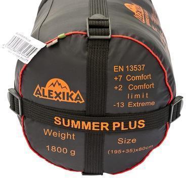 На мешке четыре ремня, утянув которые, вы можете уменьшить объем упакованного спальника. Лучший выбор для кемпинга в тёплые летние ночи Alexika Summer Plus