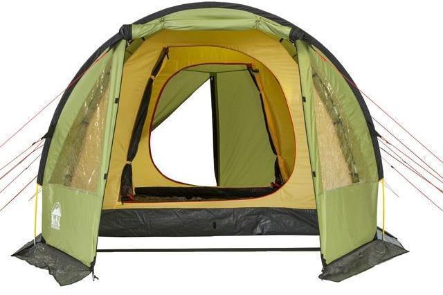 Вид спереди. Открыт центральный вход. Вид спереди. Открыт центральный вход. Кемпинговая палатка с большим тамбуром и тремя входами KSL Campo 4 Plus зеленый