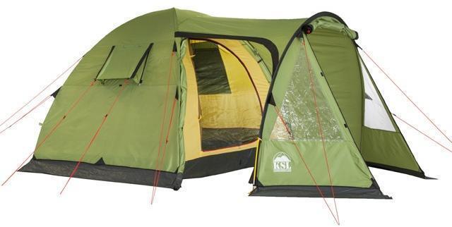 Открыты центральный и боковой входы. Открыты центральный и боковой входы. Кемпинговая палатка с большим тамбуром и тремя входами KSL Campo 4 Plus зеленый