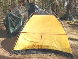 Накинуть внешний тент Универсальная двухместная туристическая палатка с двумя входами и двумя тамбурами. Alexika Rondo 2